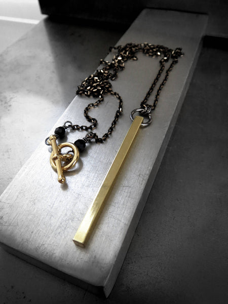 PIERCE - Gold Bar Pendant Necklace with Black-Gold Chain