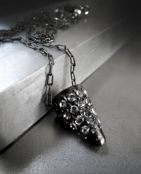 TINY SPARK - Black Diamond Crystal Encrusted Pendant Necklace
