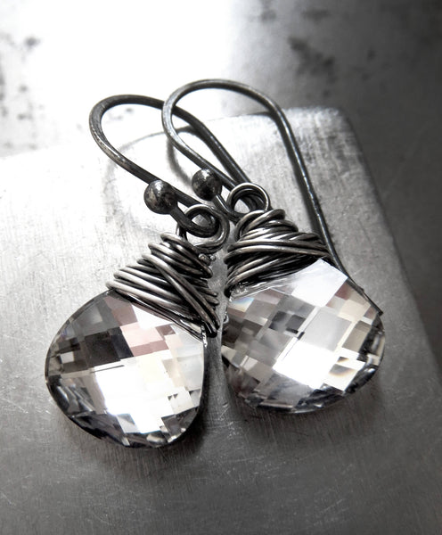 SHINE - Metallic Silver Chrome Swarovski Crystal Teardrop Earrings