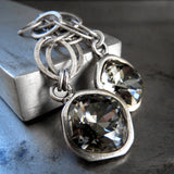 DARK DIAMOND - Geometric Oval Chain Earrings with Swarovski Crystal