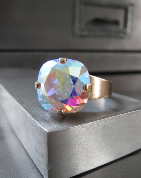 SHIMMER GOLD - Swarovski Crystal Ring with Clear AB Crystal