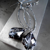 DARK BAROQUE - Charcoal Swarovski Crystal Earrings with Oxidized Silver