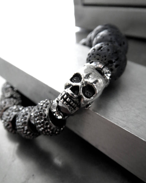 Silver Skull Bracelet with Black Lava Beads