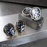 Swarovski Crystal Skull Stud Earrings - Midnight Black with Gold