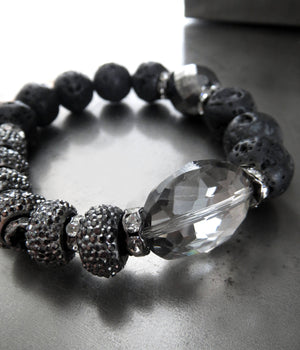 Silver Moon Bracelet with Crystal and Lava Beads