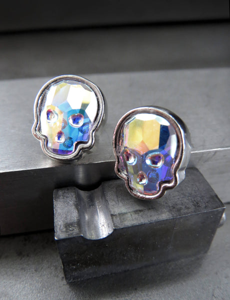 Iridescent Swarovski Crystal AB Skull Stud Earrings - Silver