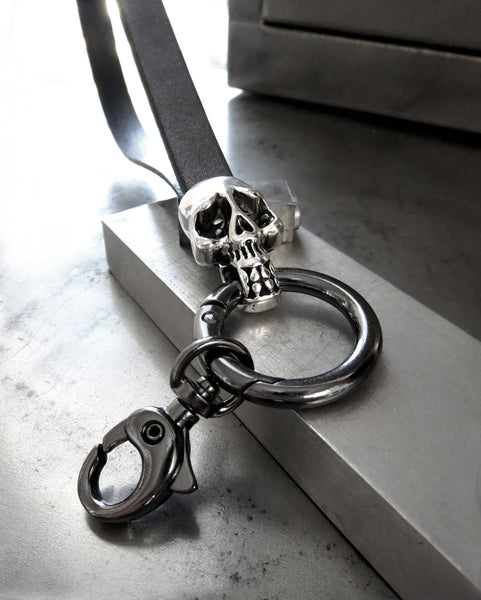 Silver Skull Keyring with Gunmetal Black Leather Wrist Strap