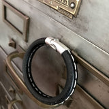Black Leather Bracelet with White Stitching - Unisex