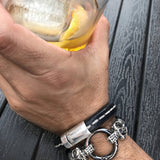 Silver Skull Black Braided Leather Bracelet - Unisex