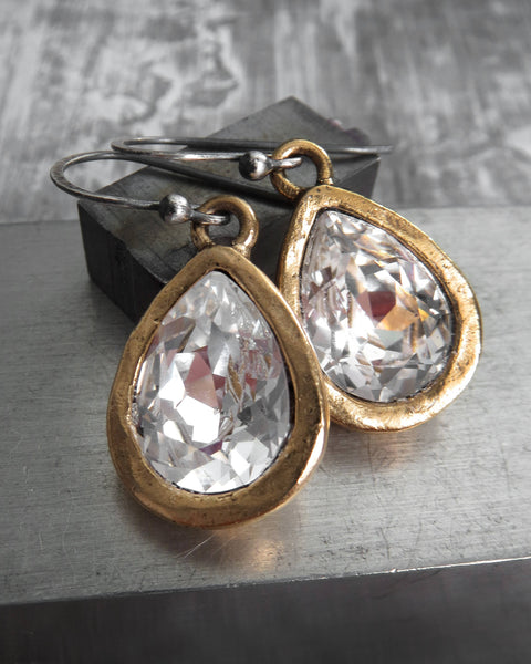 ALWAYS - Swarovski Crystal Clear Teardrop Earrings - Matte Gold