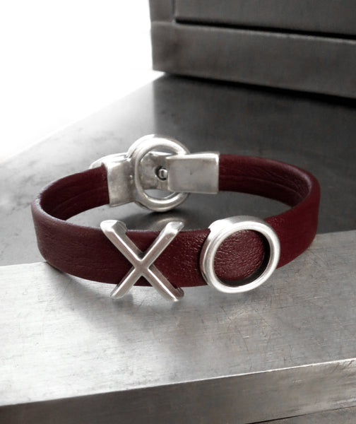 XO Oxblood Red Leather Bracelet - Hugs, Kisses & Love