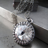 Swarovski Crystal Rivoli Crown Pendant Necklace - Clear Crystal