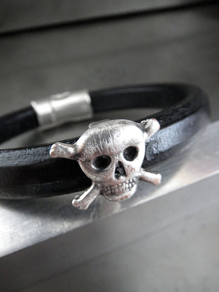 Black Leather Bracelet with Silver Skull and Cross Bones