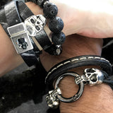 FIVE SKULLS - Black Leather Bracelet with Antiqued Silver Skulls