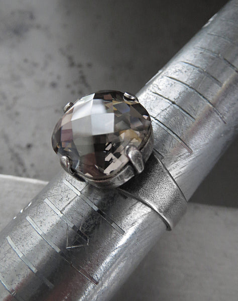 Silk Smoke - Swarovski Crystal Ring with Grey Crystal