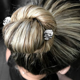 Swarovski Crystal Skull Bobby Hair Pins - Black Night, Set of 2