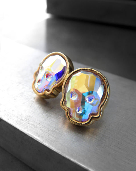 Iridescent Swarovski Crystal AB Skull Stud Earrings - Gold