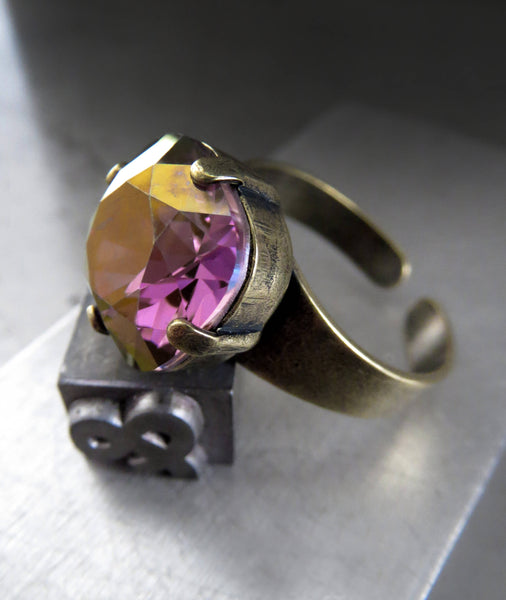 Gilded Royal Lilac Ring with Cushion-Cut Swarovski Crystal