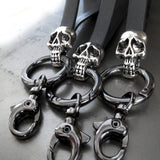Silver Skull Keyring with Gunmetal Leather Strap