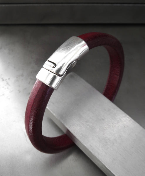 Oxblood Red Leather Bracelet with Silver Magnetic Clasp - Unisex