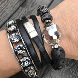 Thin Black Leather Wrap Bracelet with Silver Oval