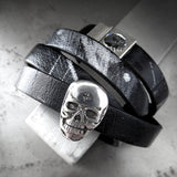 Skulls & Graffiti - Black Leather Wrap Bracelet