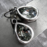 GRACE - Swarovski Crystal Teardrop Earrings in Black Diamond