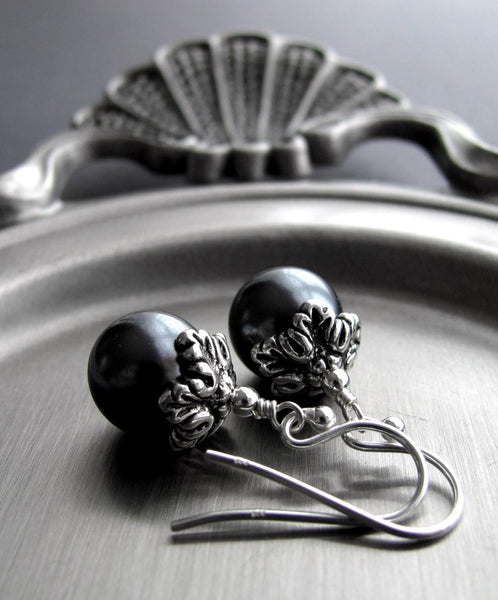 Vintage Style Slate Gray Glass Pearl Earrings
