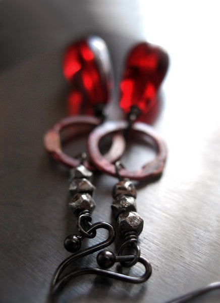 Red Teardrop Earrings with Muted Red Circle Links and Black Gunmetal, Long Red and Black Earrings, Modern Edgy Jewelry, Goth Gothic Jewelry