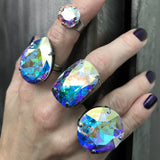 ENCORE: Huge Round Aqua Swarovski Crystal Cocktail Ring, Shimmer Sparkle Iridescent Pastel Large Crystal Adjustable Ring, Drag Queen Jewelry