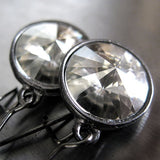 Moonlight Swarovski Crystal Rivoli Earrings with Black Gunmetal