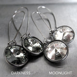 MOONLIGHT - Swarovski Crystal Rivoli Earrings - Silver Shade