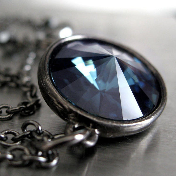 Midnight Blue Swarovski Crystal Rivoli Pendant Necklace
