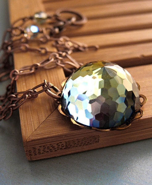 GEODESIC - Vintage Swarovski Crystal Necklace with Copper