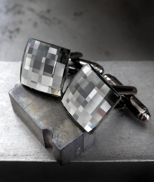 Grey Mirror Cuff Links with Black Diamond Swarovski Crystal - Square Wedding Cufflinks for Groom, Groomsmen, Husband, Boyfriend, Fathers Day