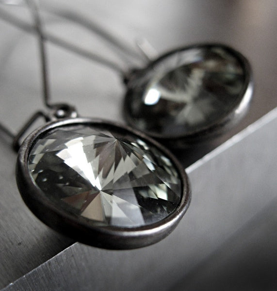 Black Diamond Swarovski Crystal Earrings with Gunmetal Bezels