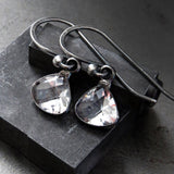 DEMURE - Tiny Clear Glass Faceted Teardrop Earrings with Darkened Silver Bezel Wrap, Small Minimalist Jewelry, Vintage Style Wedding Jewelry