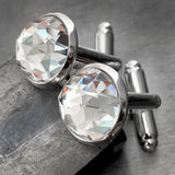 Mens Formal Cuff Links with Clear Swarovski Crystal - Domed Round Silver Plated Wedding Cufflinks for Groom, Groomsmen, Husband, Fathers Day