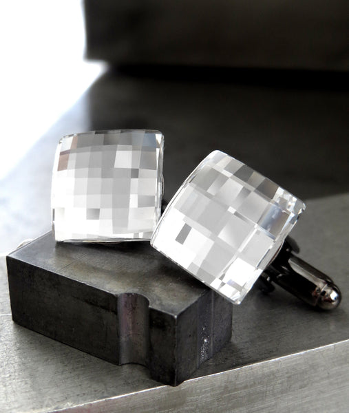 Mirror Cuff Links with Clear Swarovski Crystal - Square Wedding Cufflinks for Groom, Grooms Gift, Groomsmen, Husband, Boyfriend, Fathers Day