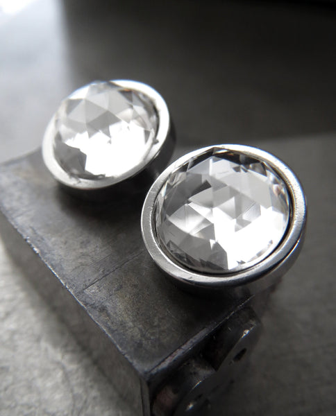Modern Silver Stud Earrings with Clear Faceted Swarovski Crystal, Large Round Stainless Steel Post Earrings, Unisex Women Mens Post Earrings