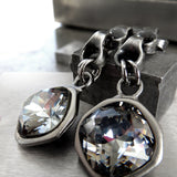 GEAR - Bold Chunky Chain Earrings with Dark Grey Gray Black Swarovski Crystal, Matte Black - Modern Geometric Industrial Style Jewelry