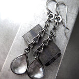 SPEAK EASY - Clear Glass Faceted Teardrop Earrings with on Long Antiqued Silver Chain, Edgy Vintage Style Jewelry