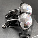 Mens Black Cuff Links with Clear Swarovski Crystal - Domed Round Wedding Cufflinks for Groom, Groomsmen, Husband, Boyfriend, Fathers Day