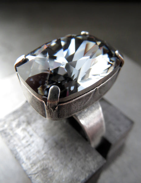 ELEGANCE - Crystal Cocktail Ring in Midnight Black - Rectangular Swarovski Crystal, Antiqued Silver Adjustable Ring Band