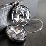 PURE II - Clear Swarovski Crystal Earrings with Antiqued Silver