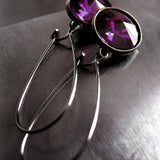 Amethyst Purple Swarovski Crystal Rivoli Earrings