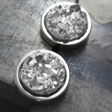 OVER THE MOON - Metallic Silver Stud Earrings with Simulated Druzy Stone in Silver Color Resin - Modern Large Unisex Mens Post Earrings