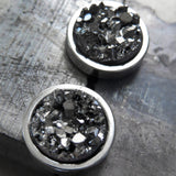 ROUGH TERRAIN - Metallic Gunmetal Stud Earrings with Simulated Druzy Stone in Dark Grey - Large Modern Post Earrings for Men Unisex Women