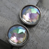 AURORA LIGHTS - Shimmer Iridescent Pastel Stud Earrings with AB Finish, Delicate Soft Romantic Rainbow Post Earrings for Women Girls Unisex