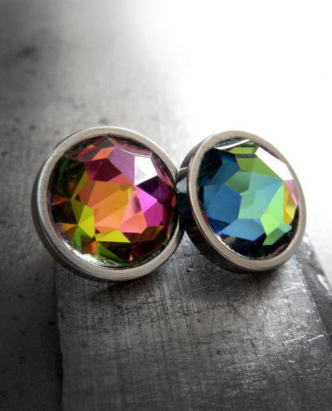 Large Rainbow Stud Earrings with Round Colorful Swarovski Crystal, LGBTQ Queer Gay Pride, Love is Love, Unisex Womens Mens Post Earrings